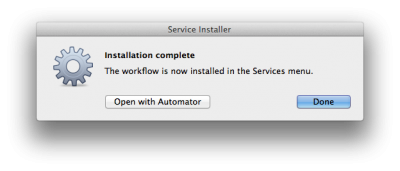 Automator - Auto install the workflow ... done!