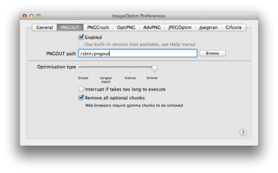 "ImageOptim - Preferences - Enter ""/sbin/pngout"" as the location of pngout"