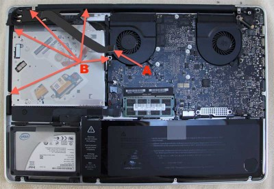 Remove the cable (A) and screws (B)