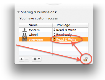 MacOS X - Sharing & Permissions settings