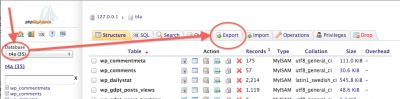 phpMyAdmin - Export the WordPress Database
