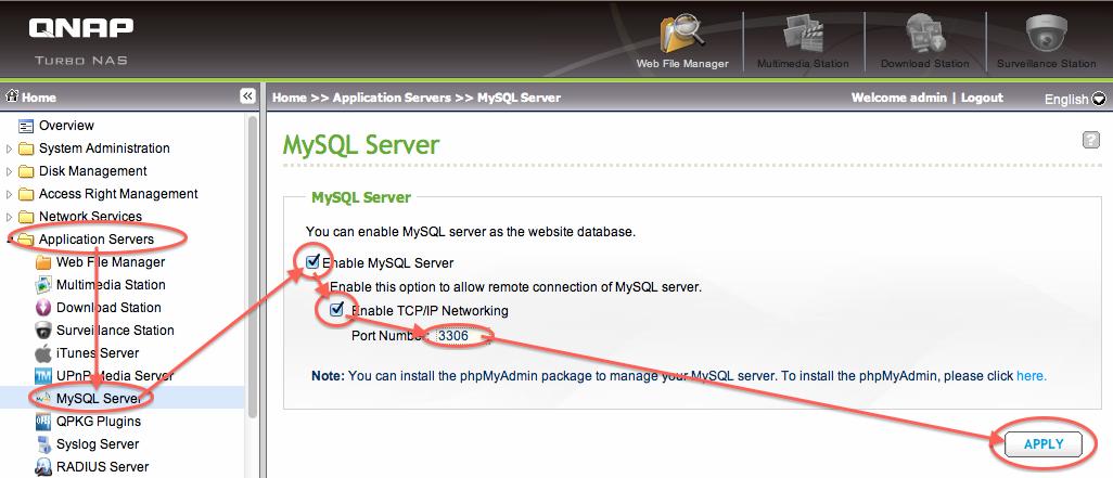 Tweaking4All com - QNAP - Installing MySQL and phpMyAdmin
