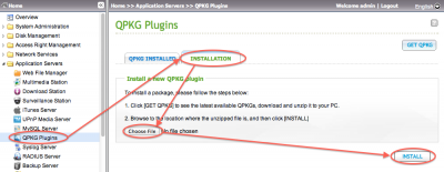QNAP - Installing QPKGs (remember to unzip first!)