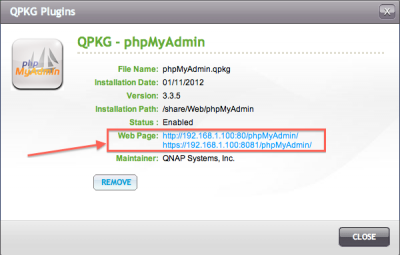 QNAP - PHPMyAdmin Installed! Take note of that link!