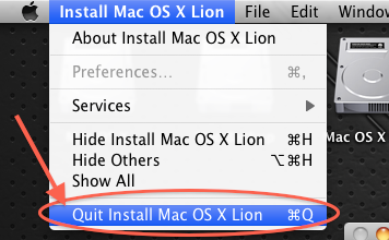 Quit Mac OS X Lion Install (menu)