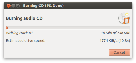 Brasero is burning your Audio CD