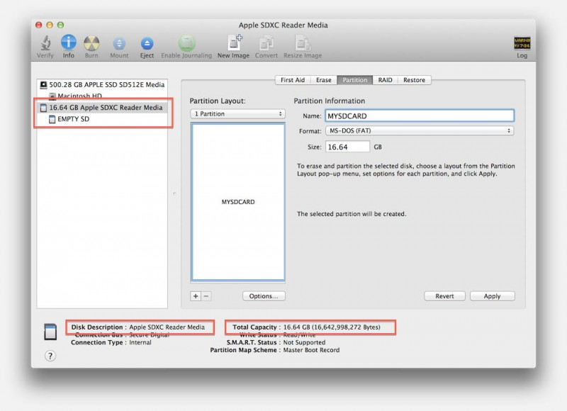 Disk Utility - Preparing your memory card