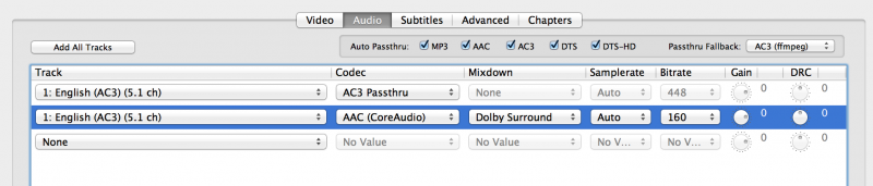 HandBrake example Audio settings