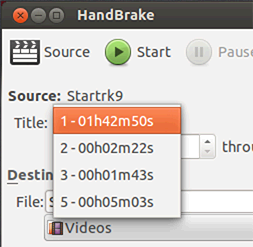 HandBrake - Select the movie to rip
