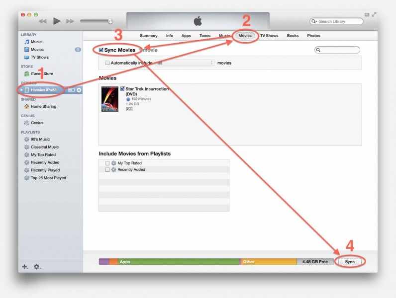 iTunes - Synchronize Movies