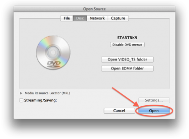 VLC MacOS X - Open DVD