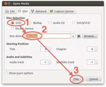 VLC Linux (Ubuntu) - Select the Disc