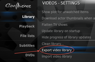 XBMC (Eden/ v11) - Video menu - Export Video Library