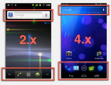 Android 2.x vs Android 4.x