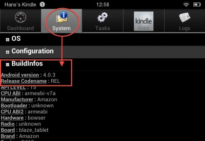 App - Android System Info, works on Kindle as well