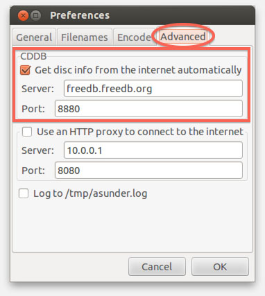 ASunder - CDDB and Proxy settings