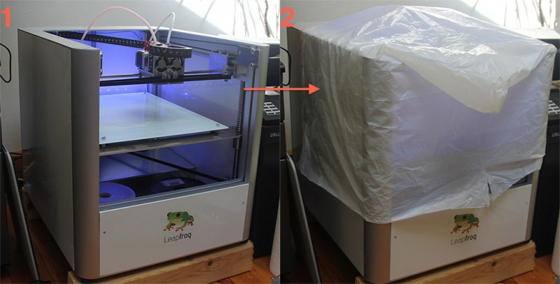 Cover your printer with a garbage bag