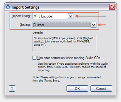 iTunes - Setting for MP3 import