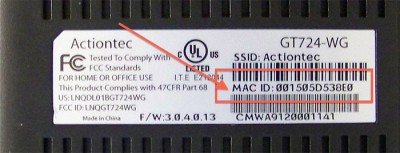 MAC Address on manufacturer sticker