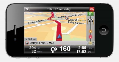 iPhone running TomTom