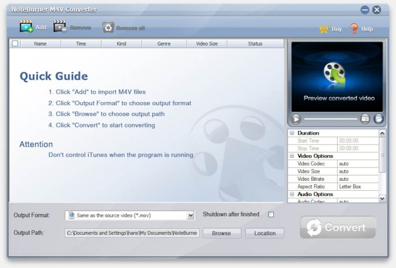Start Noteburner to remove iTunes DRM