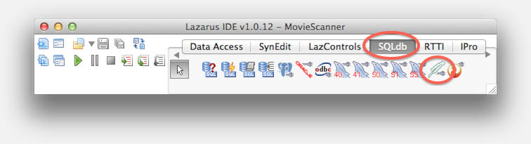 Lazarus MacOS X - Add the TSQLite3Connection to your From