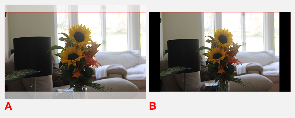 Photograph to TV Aspect Ratio - Cropping (A) or Letterboxing (B)