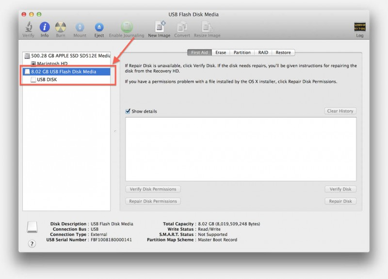 Disk Utility - Your newly formatted USB stick is ready for use