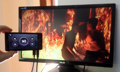 Motorola Droid connected to the TV via a micro HDMI cable