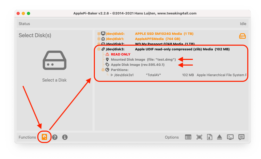ApplePi-Baker - Advanced View - Select Mounted DMG