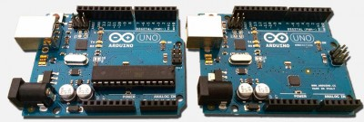 Arduino UNO R3 - Standard (left) vs SMD (right)