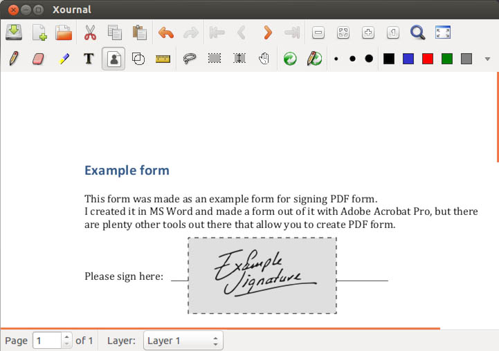 Linux - Xournal - Insert Handwritten Signature into a PDF
