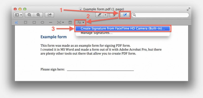 Mac OS X - Preview - Create Signature