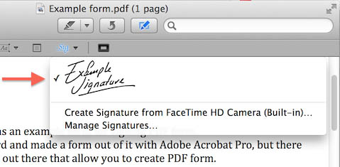 Mac OS X - Preview - Your signature can now be selected from the menu