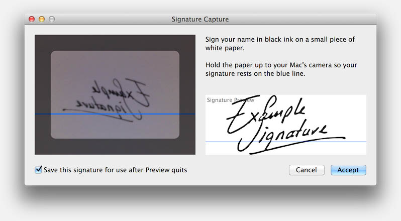 Mac OS X - Preview - Digitize handwritten signature