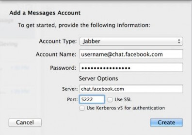Messages - Add Jabber Account for Facebook  Chat