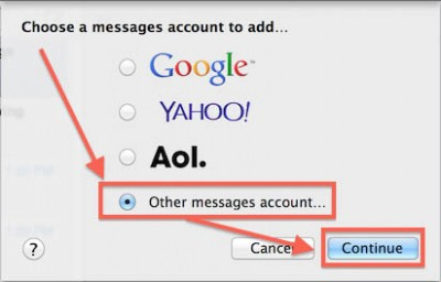 Messages - Add Other Messages Account