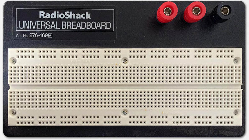 "Larger Breadboard I got from RadioShack (6x16cm or 6½""x2¼"")"