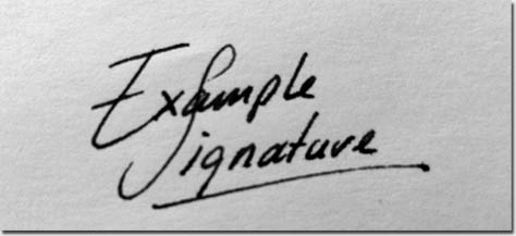 Sample signatures styles.