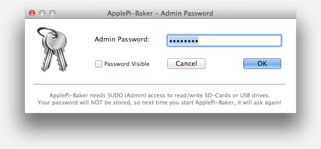 ApplePi-Baker - New authentication window