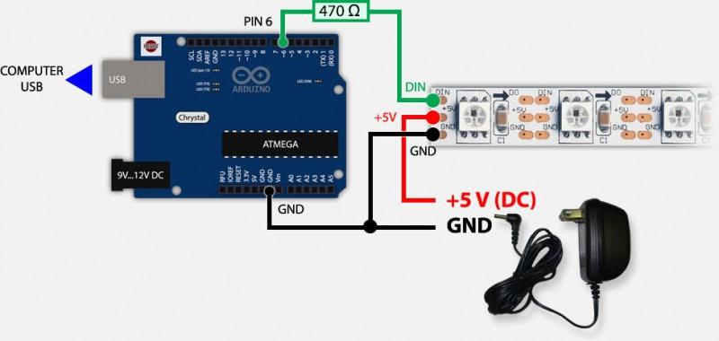Arduino & WS2812 - USB and External Power