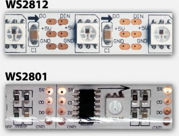 Digital LED strip - WS2812 (top) and WS2801 (bottom)