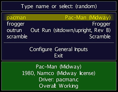 MAME under MacOS X - ROM Selection Menu
