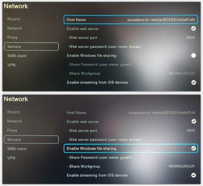 Boxee Box - Network Server settings