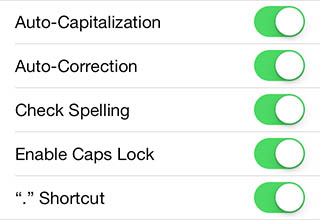 iPad/iPhone - Auto Correct Options