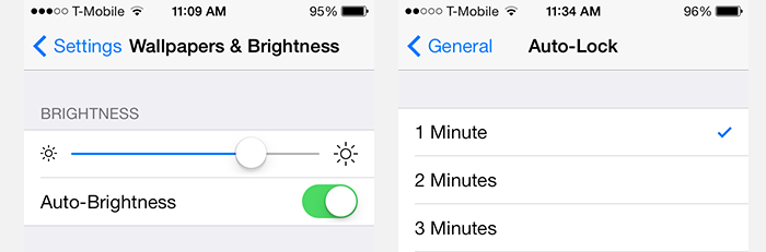 iPad/iPhone - Set Screen Brightness and Auto-Lock