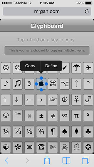 iPad/iPhone - Glyphboard to enter special characters