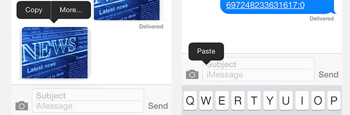 iPad/iPhone - Copy and Paste Pictures (example: Messages)