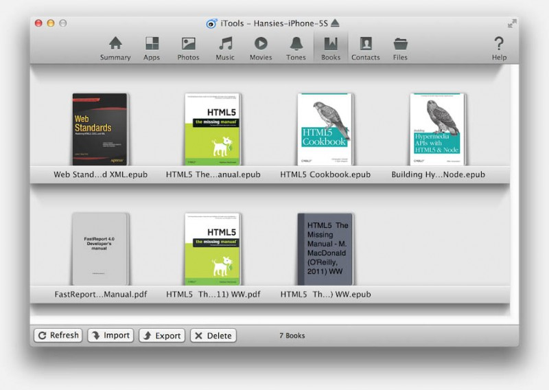 iTools (Mac) - Books Window