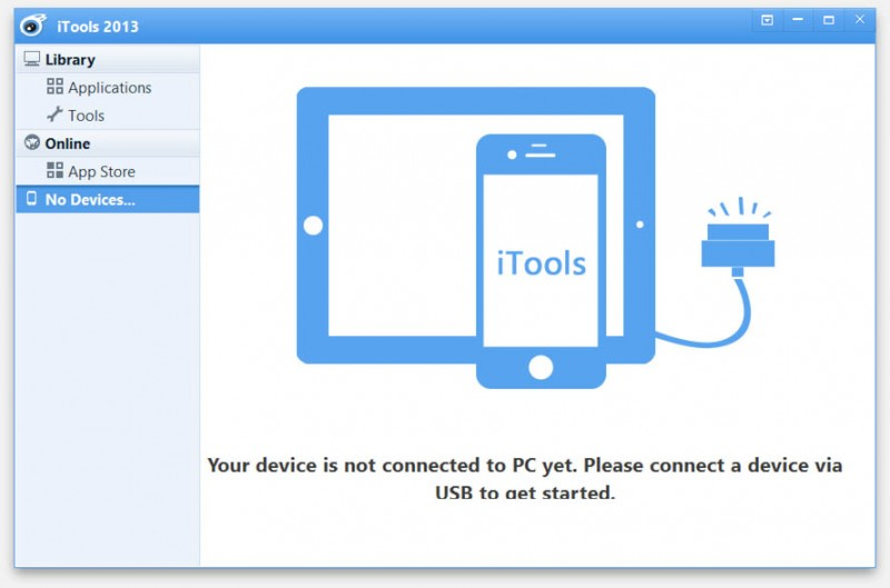 iTools (Windows) - iPad or iPhone not yet connected at startup